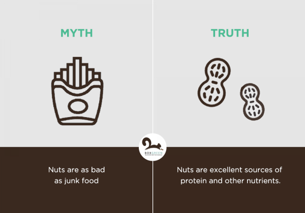 Food myth: Nuts are as bad as junk food.