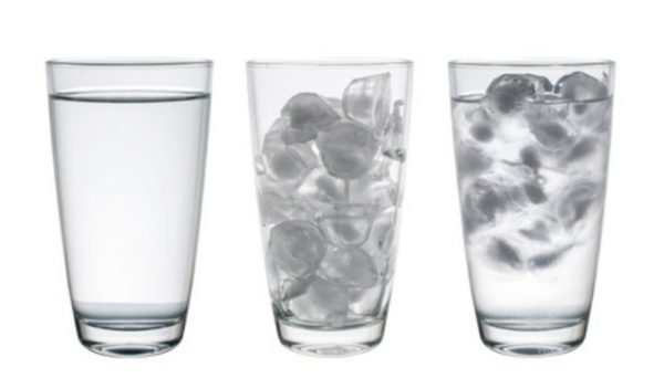 Collection of Glass with water and ice isolated on white, Clipping Path
